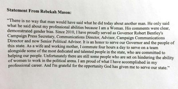 March 23, 2016 statement from Rebekah Mason regarding her affair with Governor Robert Bentley