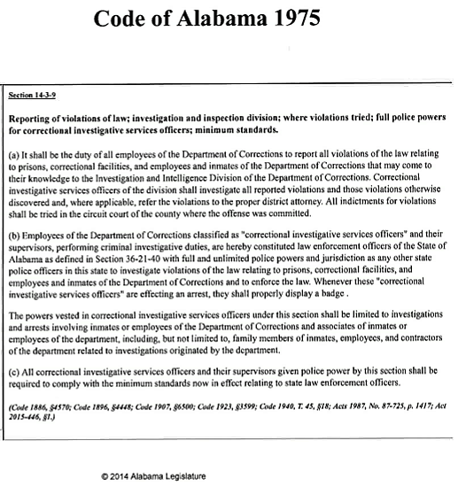 Code of Alabama 1975 regarding minimum standards for prison/correctional officers
