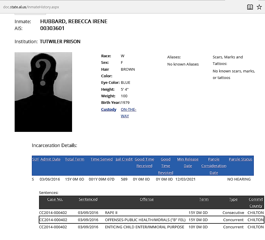 Rebecca Hubbard on DOC website Notice: CUSTODY; ON THE WAY, because she was only transferred yesterday.