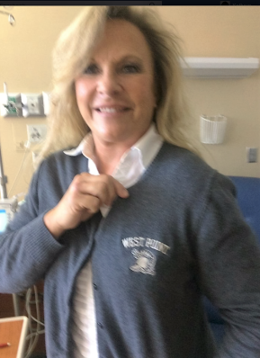 Judge Moore's wife, Kayla, sporting a West Point sweater in April 2016 celebrating son Micah's admission to WP.