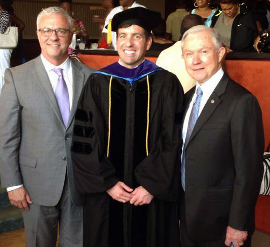 Law School Graduation: Dothan Lawyer, Scott Smith, Jr., Scott Smith, III, Senator Jeff Sessions.