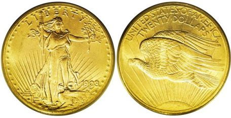 Walking Liberty $20 solid gold coin